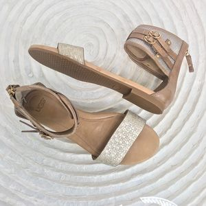 UGG Tan and Silver Sandal w/ Buckle size 7.5